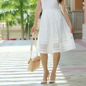 H&M White A-Line Midi Eyelet Skirt Size 6